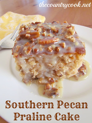 Pecan Praline Cake with Butter Sauce (with graphics, www.thecountrycook.net)